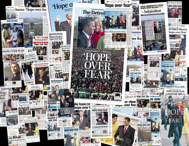 Obama inauguration front pages - Hope Over Fear1