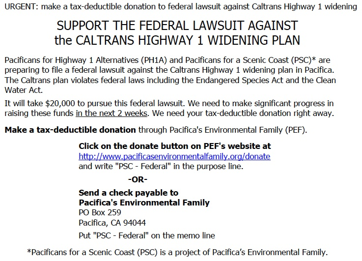 Urgent federal lawsuit donations