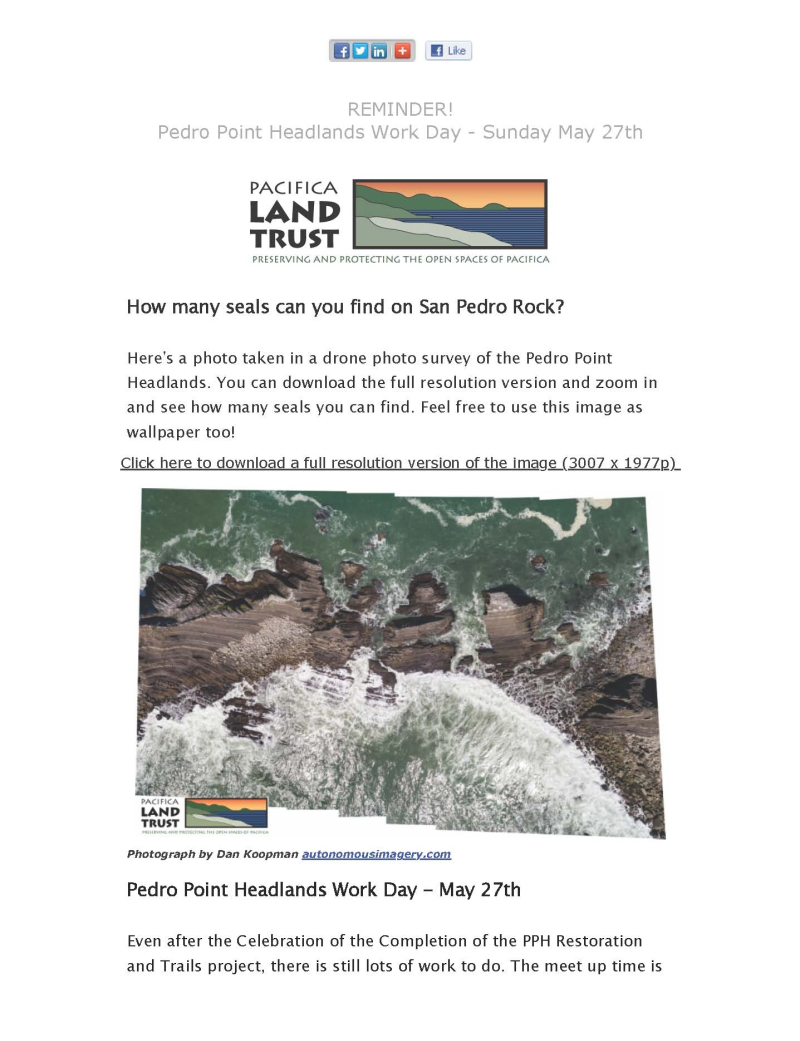 Pedro Point Headlands Is Calling! - Find the Seals & Work Day Reminder - May 27th_Page_1