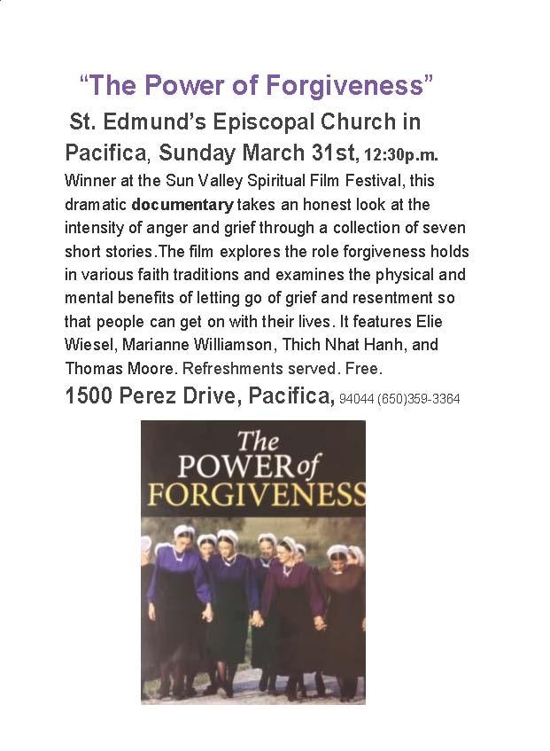 """The Power of Forgiveness"" community invitation"