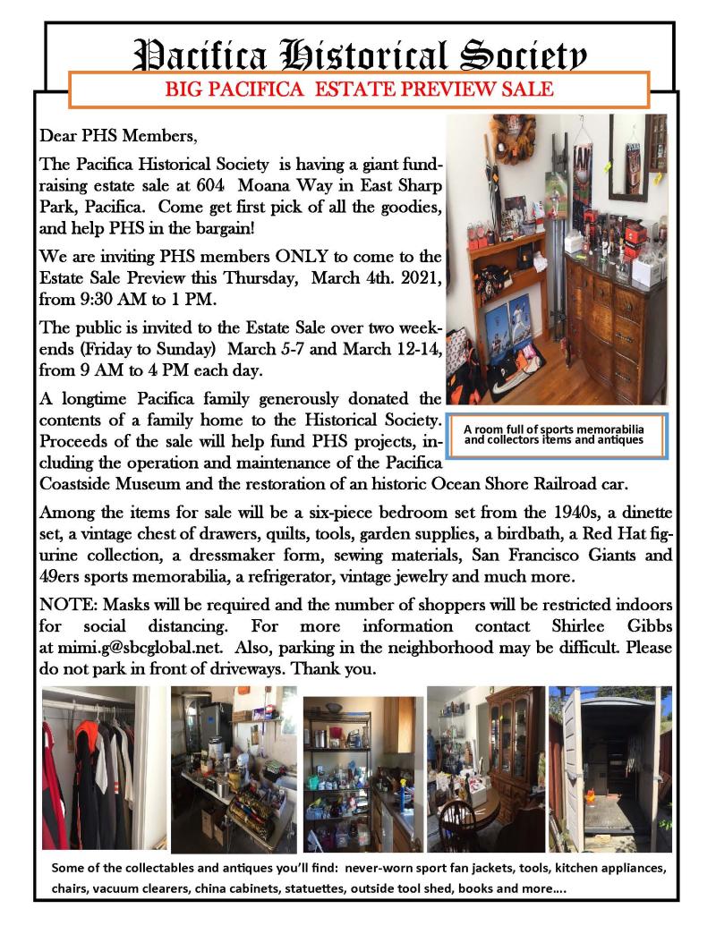 PHS Pacifica Estate Sale